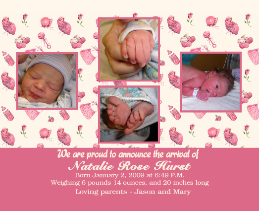 Birth Announcement - Click Here For a Larger View